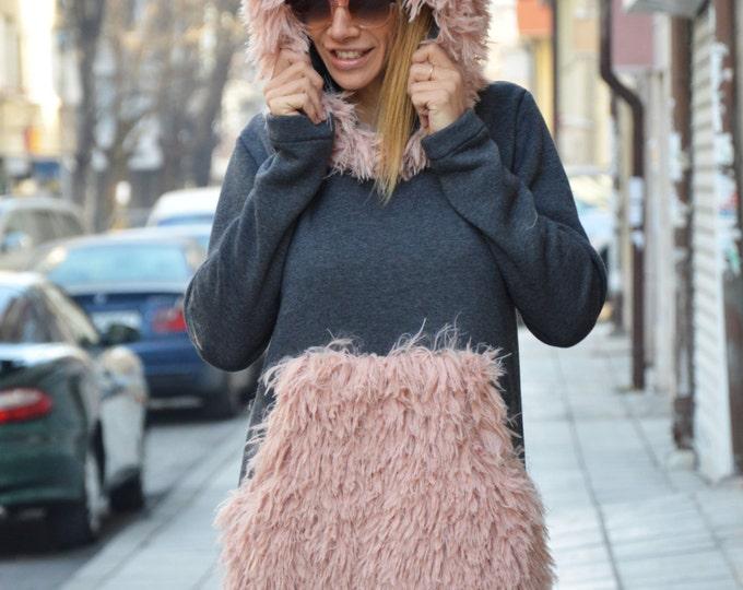 Winter Extravagant Maxi Hooded Dress, Women Casual Clothing, Warm Long Dress, Plus Size Kaftan Dress By SSDfashion