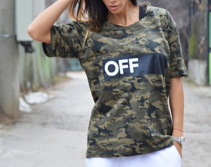"Casual Military "" Off "" Cotton Print T-shirt, Handmade Oversize T-shirt, Plus Size Loose Top by SSDfashion"