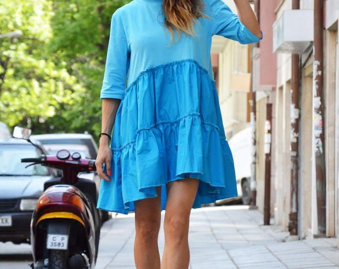 Maxi Blue Drape Dress, Asymmetrical Tunic, Oversize Tunic, Cotton Linen Dress, Loose Casual Top, Extravagant Shirt by SSDfashion