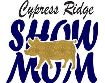 FFA Pig/Hog/Swine Show Mom Shirt with Custom School Name