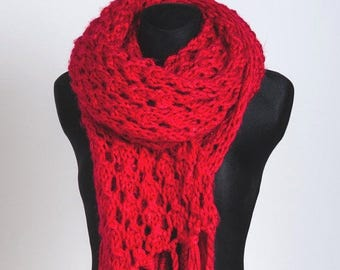 ON SALE 20 % Red Scarf,Long Knit scarf, Large Chunky Scarf, fringes Scarf, knitted Shawl long with fringes women girls handmade