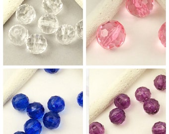 U PICK size-Clear, Pink, Blue, Purple Acrylic Round Beads,faceted round beads, A102, ships USA