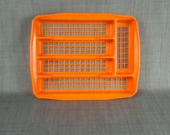 70s orange plastic cutlery tray flatware storage drawer organizer organiser divider campervan camper