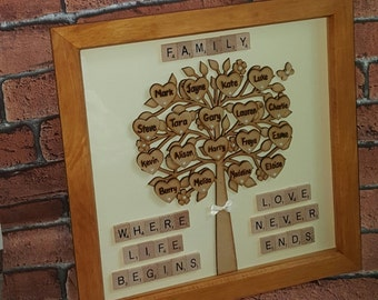 Family Tree Frame, Solid Wood Family Tree Frame, Family Gift, Birthday, Mothers Day Gift Mothering Sunday