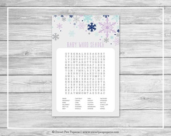 Winter Baby Shower Baby Word Search Game - Printable Baby Shower Word Search Game - Baby It's Cold Outside Baby Shower - Word Search - SP143