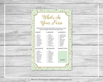 Mint and Gold Baby Shower What's In Your Purse Game - Printable Baby Shower Whats In Your Purse - Mint and Gold Confetti Baby Shower - SP147