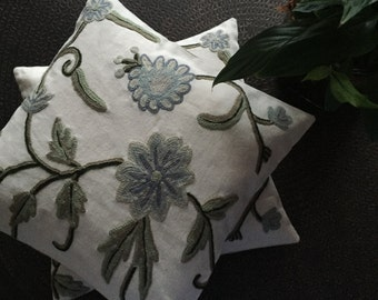 ashmiri hand embroidered crewel  cushion cover, cotton cushion cover, embroidered cushion cover