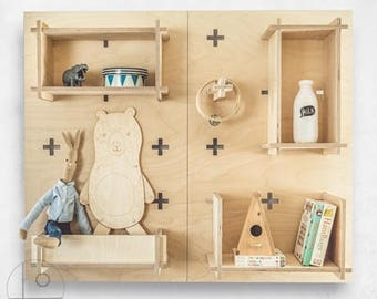 Bookcases. Pegboard, Modern Plywood Wall Peg, Open Shelving, Office Shelves, Display Shelf