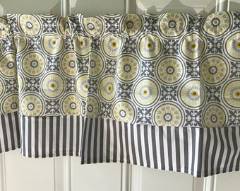 Yellow gray flower with gray striped border kitchen curtain valance