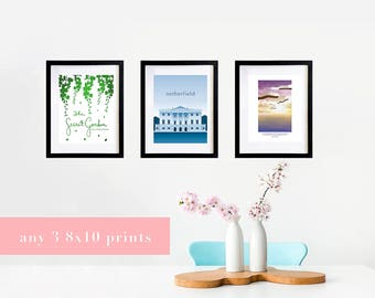 Literary Print Set - Any 3 8x10 Prints - Mix and Match - Bookish Decor Poster Set - Book Lover Gift - Librarian Gift - Booknerd Bookworm