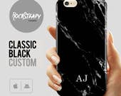Black Marble iPhone 7 case personalised custom initials iPhone SE 6s Plus personalized samsung Galaxy S8 S6 S7 5C 5S SE S5 cover