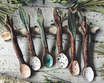 Ceramic Spoon Forest, handmade pottery rustic