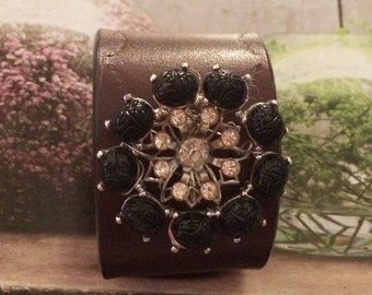 Vintage Black and Rhinestone Brooch Cuff