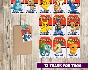 12 Pokemon Thank you Tags instant download, Printable Pokemon Thank you tags, Pokemon Party Gift Favor Label Tag, Pokemon printable
