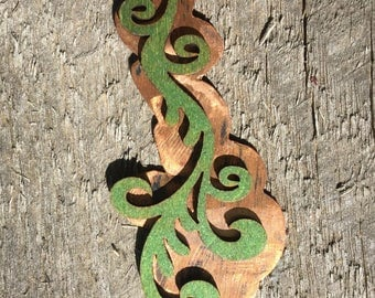 Distressed Wood and Copper Pendant