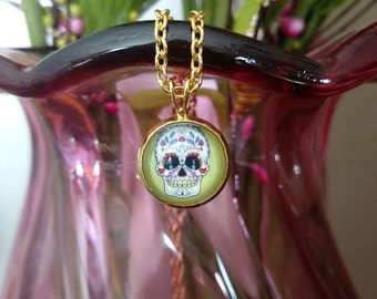 Gold Skull Charm Necklace Day of The Dead Modern Fashion Jewelry ~ Sale Expires Today