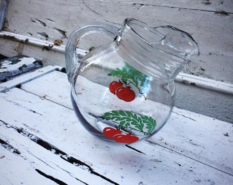 Hazel Atlas 50's Glass Pitcher Tomato Print Mid Century Art Deco