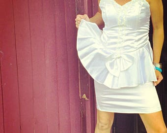 80's White Prom Dress Satin