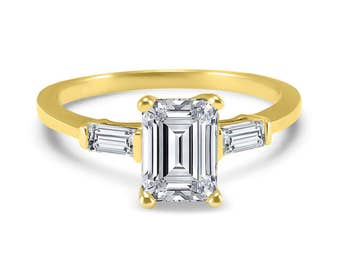 14k Yellow Gold Baguette accented emerald cut Forever ONE moissanite  engagement ring 1 Carat emerald cut 7mm x 5mm center stone