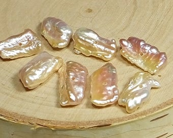 Lovely Apricot Biwa Pearls, Eight