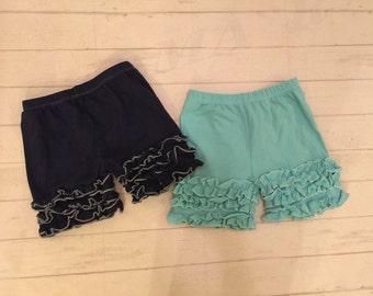 Sale 40 % OFFToddler girls ruffled Icing shorts, girls mint/navy ruffled Icing style shorts, toddler ruffled bottom shorts