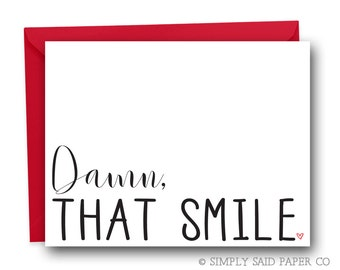 Funny Valentine's Card - Damn, that smile - love card, greeting card, anniversary card, valentine card
