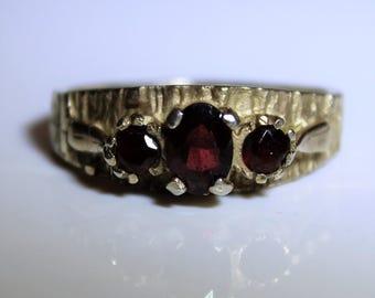 Vintage Silver Gilt Garnet Trilogy ring size 7 ~ N 1/2