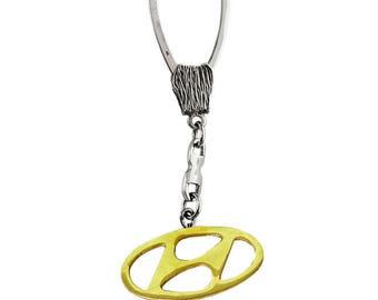 """Silver Keychain """"Hyundai"""""""
