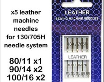 10 Packets! Assorted Leather 130/705H Sewing Machine Needles!
