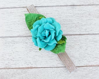 Flower Headband, Newborn Photo Prop, Baby Flower Crown, Toddler Flower Crown, Flower Crown, Girls Flower Headband, Girls Headband, Turquoise