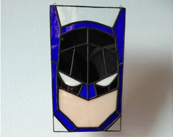 Batman Stained Glass Panel, for wall, window or suncatcher.