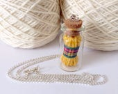 Gifts for knitters.Yarn Skein in a Bottle Charm Necklace. Knitting Jewellery.Knitters, Crocheters, yarn lovers gift.