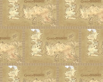 HBO Game Of Thrones Map Of Westeros Fabric - Tan (Sold by the half yard)