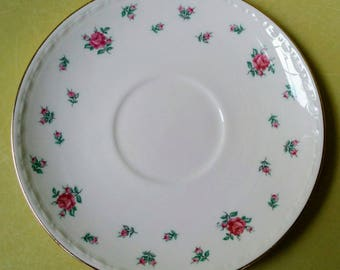 Homer Laughlin Eggshell Georgian Saucer with Pink Roses and Gold Trim - April 1947 - FREE SHIPPING
