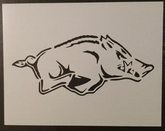 Arkansas Razorbacks Razor Back Razorback Custom Stencil FAST FREE SHIPPING