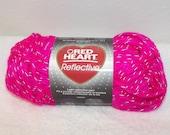 Red Heart Reflective Yarm, Pink Red Heart Yarn, Pink Reflective Yarn, Pink Scarf Yarn, Neon Pink Bulky Yarn, Glow in the dark yarn