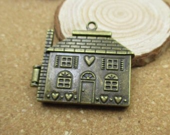 1Pcs 7×37×41mm House Charms Antique Bronze Tone,Openable Locket-p1229-A