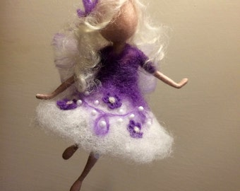 Needle felted fairy, Waldorf inspired, Wool Angel,  Art doll, Home décor, Girl room, Doll miniature, Gift, Christmas ornament
