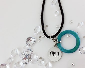 Diabetes Necklace-Type 1 Diabetes Hand-Stamped Necklace with Iridescent Blue Color Shift Ring Charm Necklace for Type One Diabetics-Medical