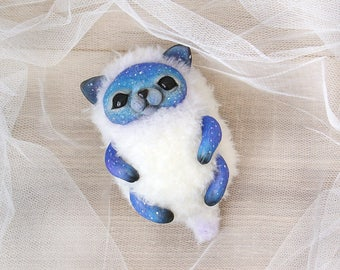 SOLD Cat Handmade Stuffed animal Toy cat Fantasy creatures Fantasy White cat Art OOAK Cute toy Mixed media 6 Inches Free shipping