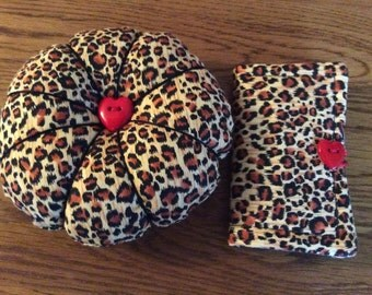 Pin cushion and needle case sewing set in sexy leopard print fabric. A great gift for someone who sews