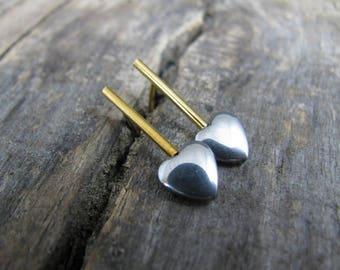 Modern Hemetite Hearts Stud Earrings, Golden  Pipe Stud Earrings, Grey & Golden Studs Earrings, Minimatist Hematite Earrings, Bar Studs