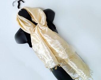 Ivory brocade scarf- Bridal wedding wrap-Fringe scarf-Paisley Silk Scarf-kashmiri Scarf-Prom dress wrap-Handloom-Brocade silk-wedding