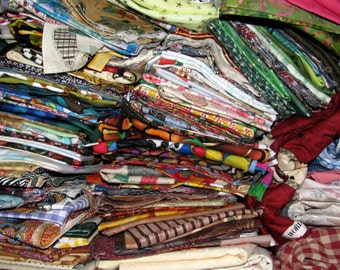 ON SALE - FREE Shipping - Destash Fabrics by the box - Mostly Quilting Cottons with some trims and notions - Fabric Remnants