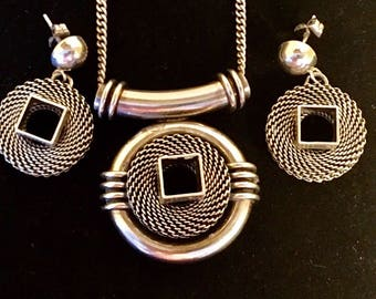 Vintage contemporary 835 Silver necklace and earrings set