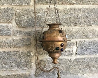 Antique Brass Jeweled Fairy Lamp & Hanger Stand Pierced Candleholder Lantern
