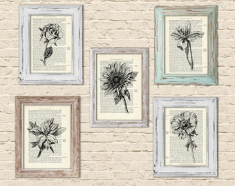 Botanical Print, Flowers print, Book Art Print, Botanical Art, Dictionary Art, Dictionary Print, Art Print Set, Black and White Print