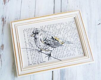 Framed art print, Bird poster, Bird print, Dictionary art, Book print, Natural art, Housewarming gift, Hostess gift
