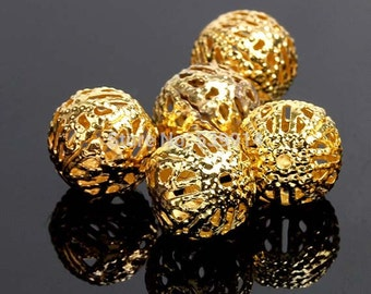 100pcs / 3mm Gold Plated Filigree Hollow Ball Spacer Beads  for DiY