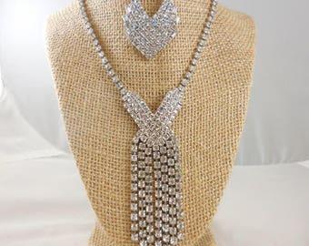 Vintage Wedding Bridal Crystal Rhinestone Necklace and Brooch
